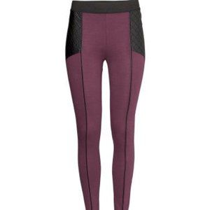 H&M Maroon Legging w/ Quilted Faux Leather Panel